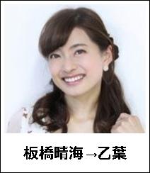 板橋晴海→乙葉