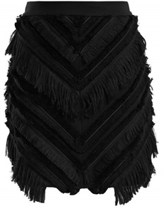 BALMAIN(バルマン)Chevron-fringed cotton-blend mini skirt