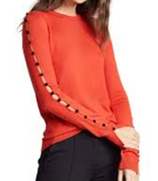 Adeam Velvet Button Sweater Red